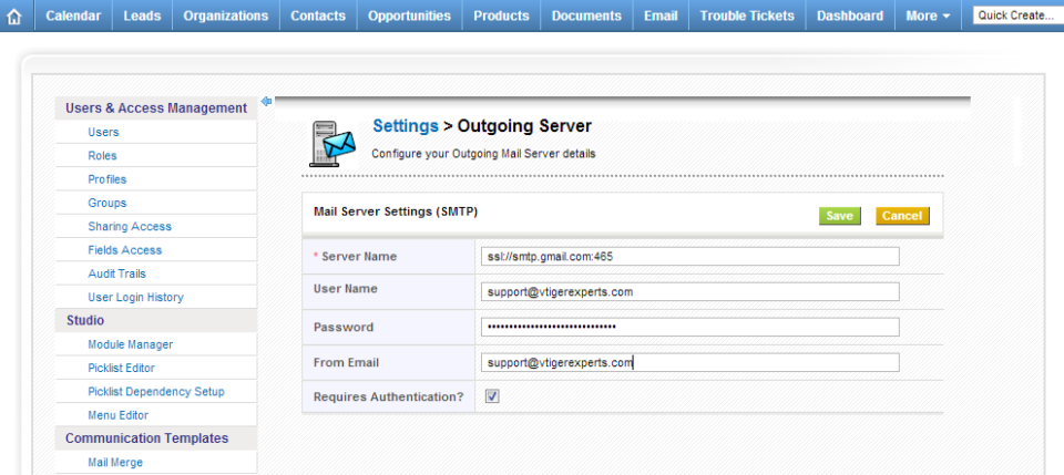 Setup GMail Outgoing Server in vTiger