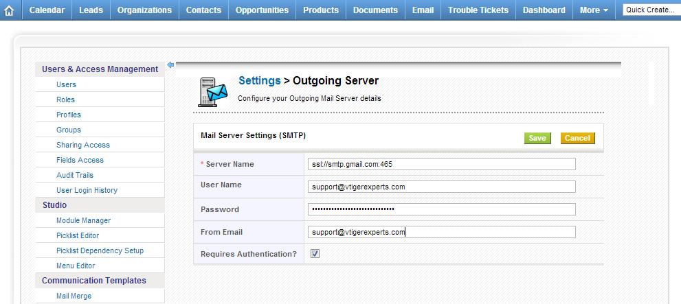 Setup GMail Outgoing Server in vTiger