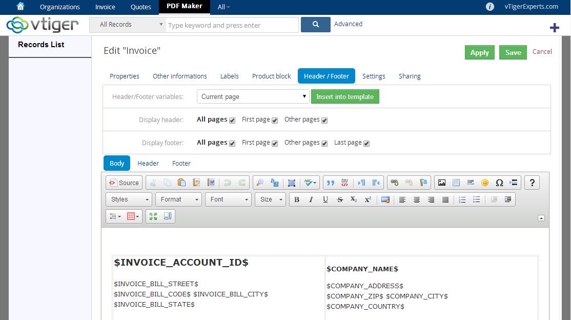 vtiger experts | vtiger pdf maker vtiger 6, Invoice examples