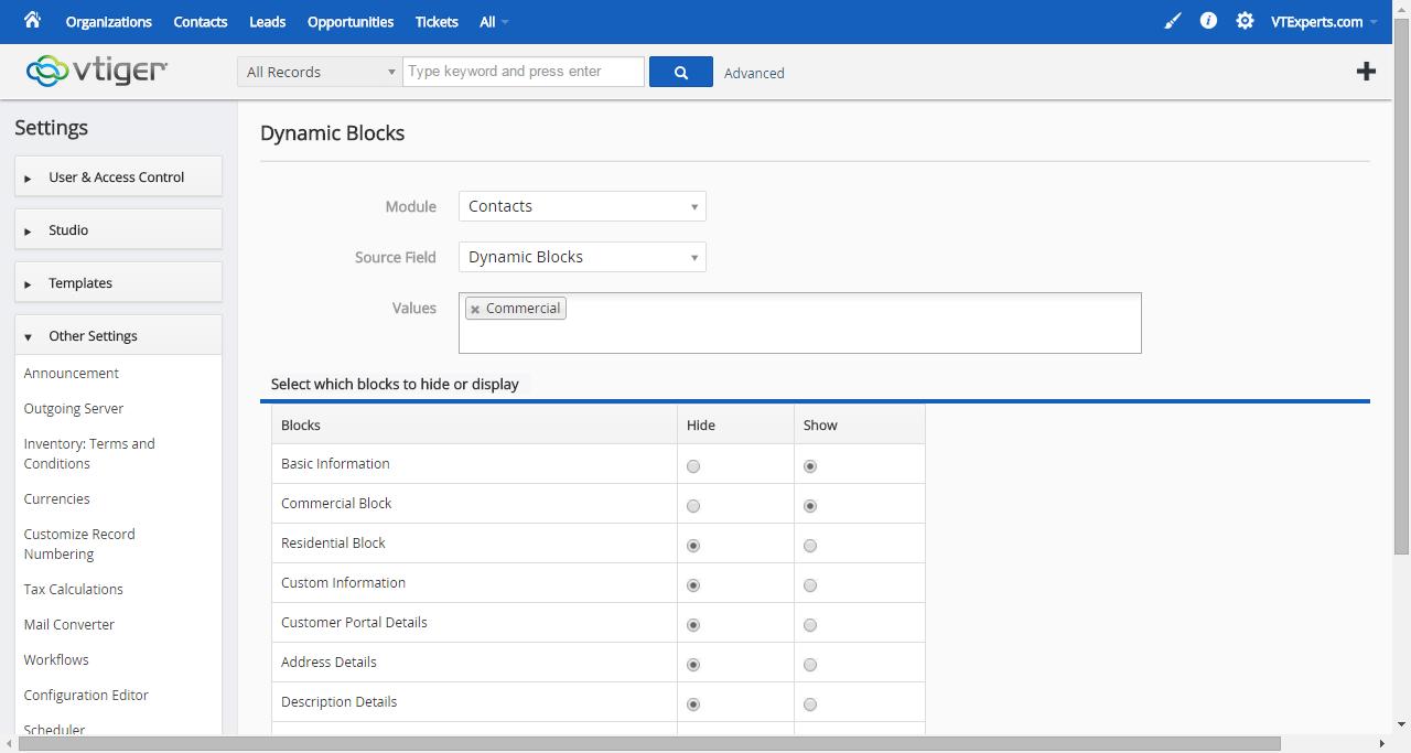 vTiger Dynamic Blocks - Configuring Block