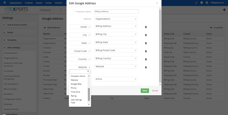 vTiger Google Address Lookup - Address Configuration