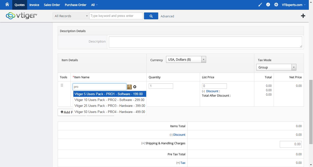 vTiger Product & Service Lookup - Product Lookup