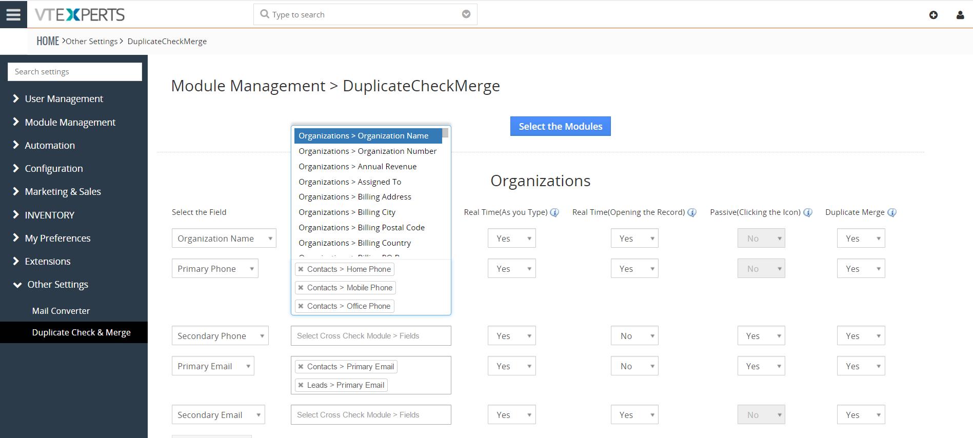 Vtiger experts duplicate check merge vtiger experts vtiger 7 screenshot fandeluxe Gallery