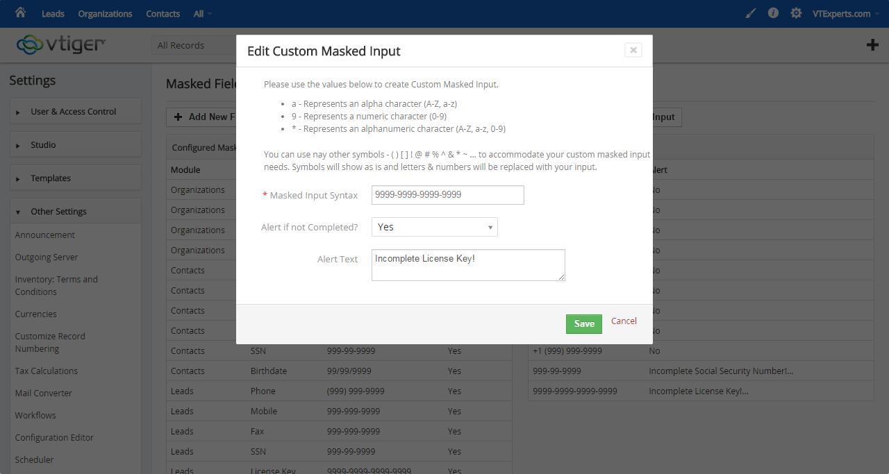 vTiger Masked Field Input & Formatting - Custom Input