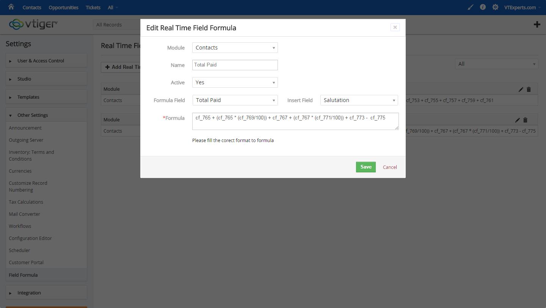 vTiger Real Time Field Formula - Adding Formula