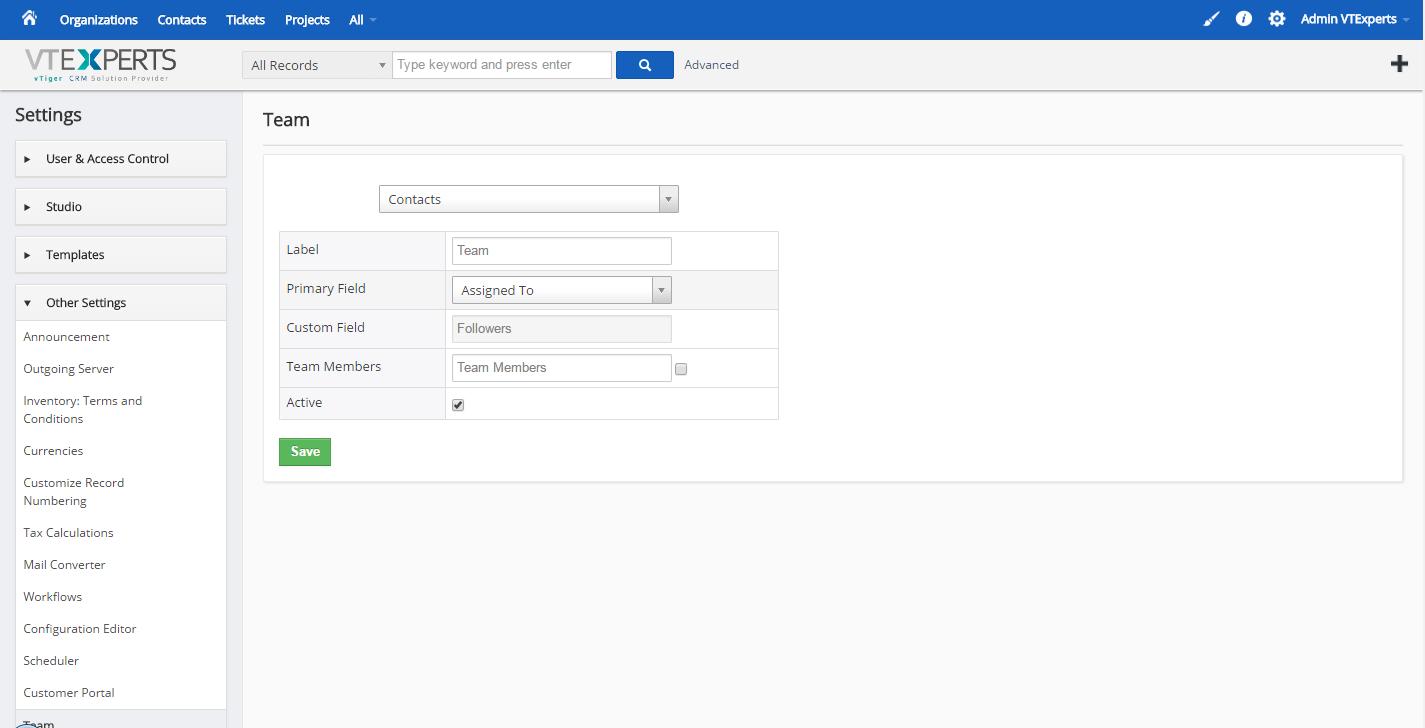 vTiger Multiple User Assigment - Settings