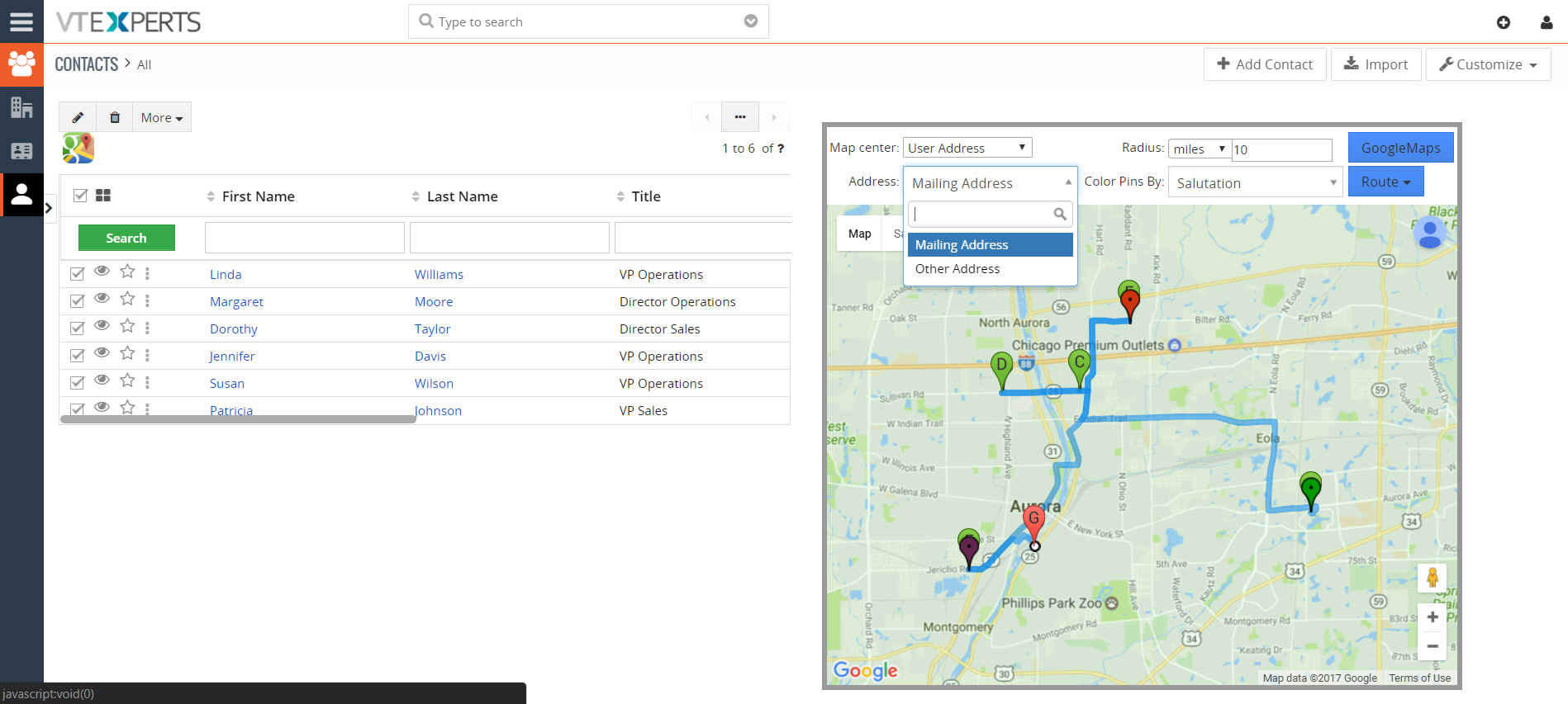google maps & route integration - extension for vtiger