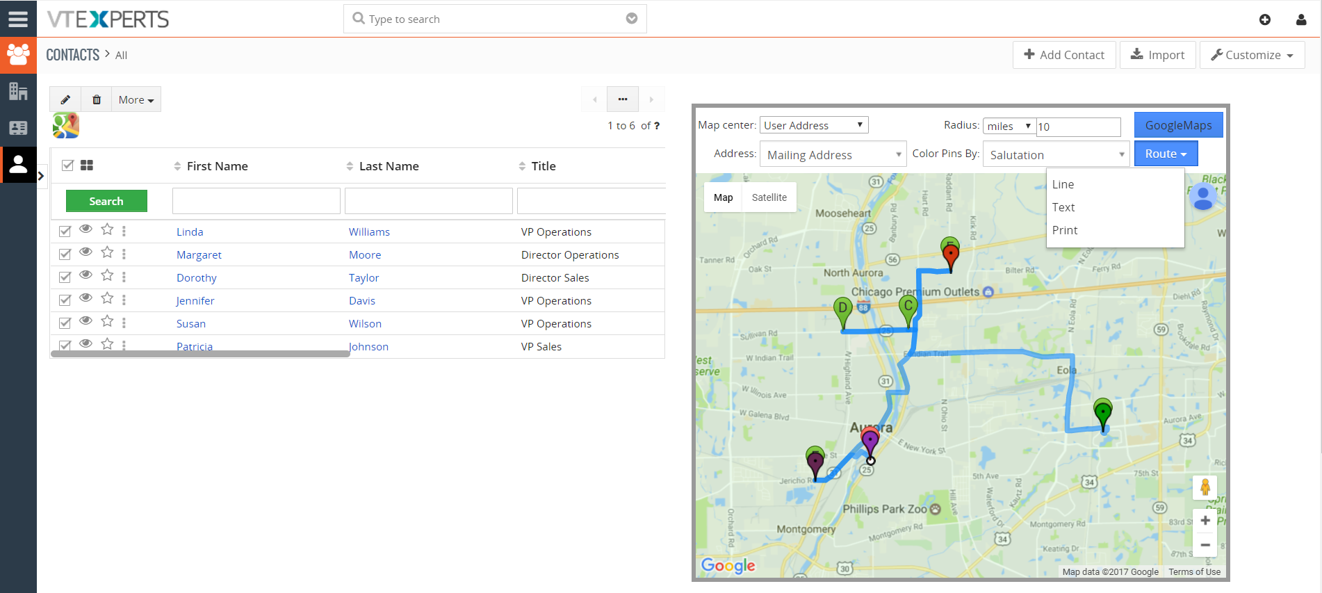 vtiger 7 google maps and route integration route f