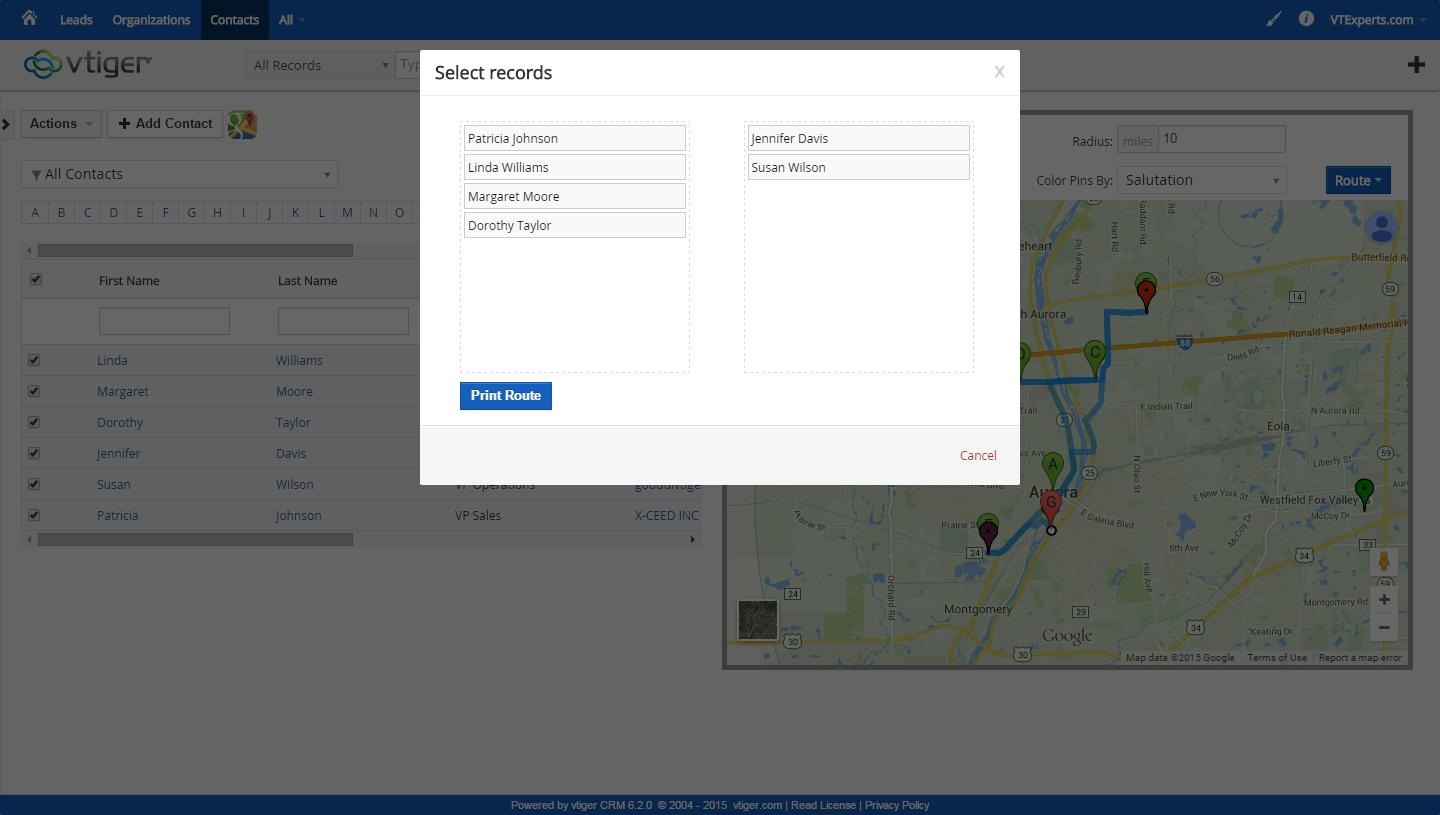 vTiger Google Maps and Route Integration - Auto and Manual Route
