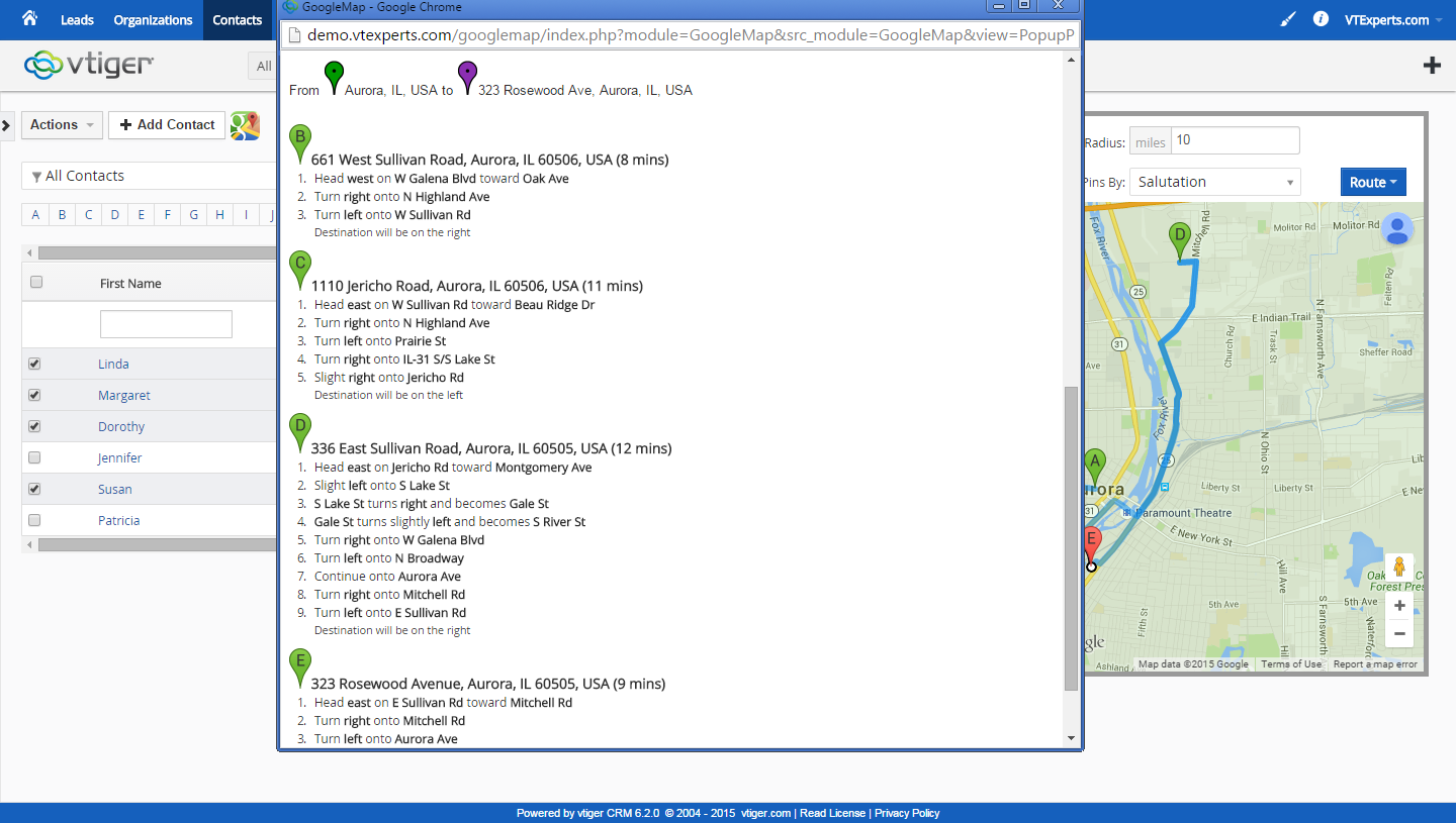 vTiger Google Maps and Route Integration - Print Route