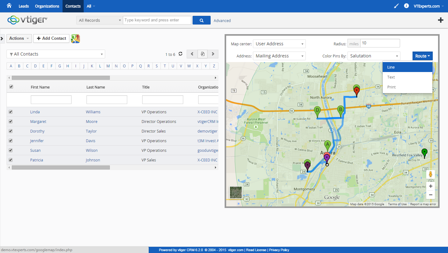 vTiger Google Maps and Route Integration - Route