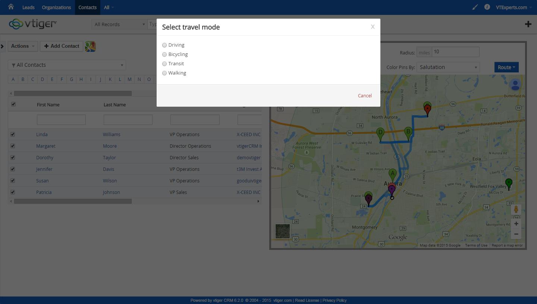 VTiger Experts | vTiger Google Maps & Route Integration