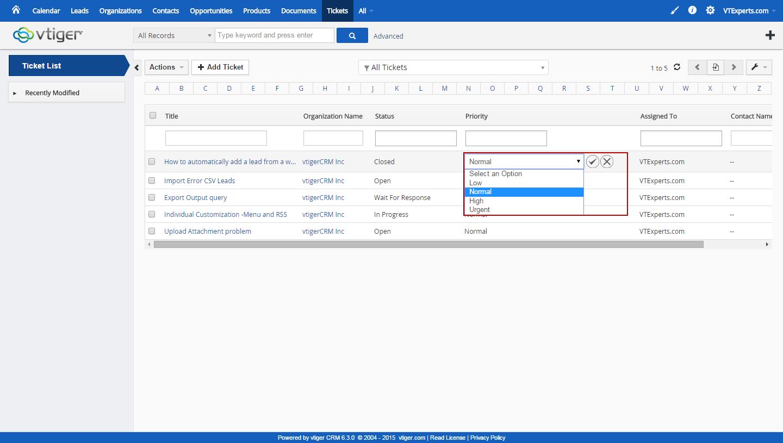 vTiger Related & Listview Edits - Listview Edit - picklist