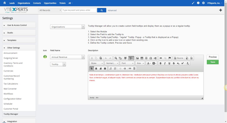 VTiger Field Tooltip Manager - Extension For VTiger