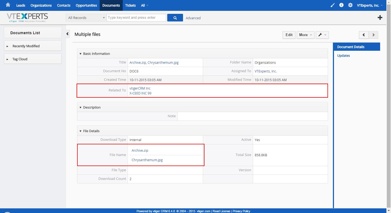 vTiger Document Manager - Detailview