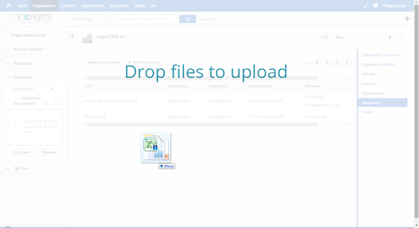 vTiger Document Manager - Drag and Drop