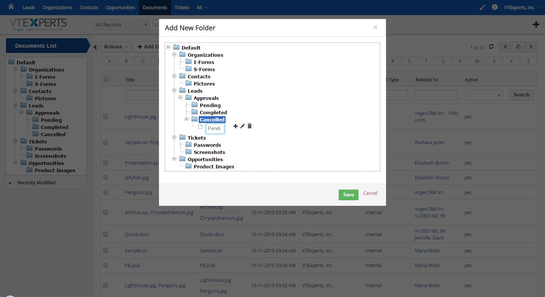 vTiger Document Manager - Folder Structure