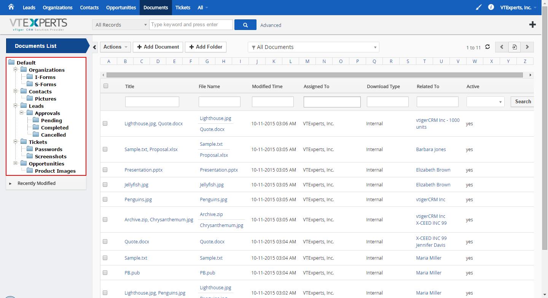 vTiger Document Manager - Listview