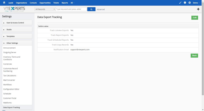 VTiger Data Export Tracker - Settings 2