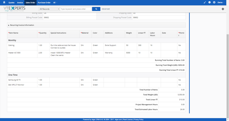 VTiger - Item Details Customizer - Advanced - Sales Order Detail