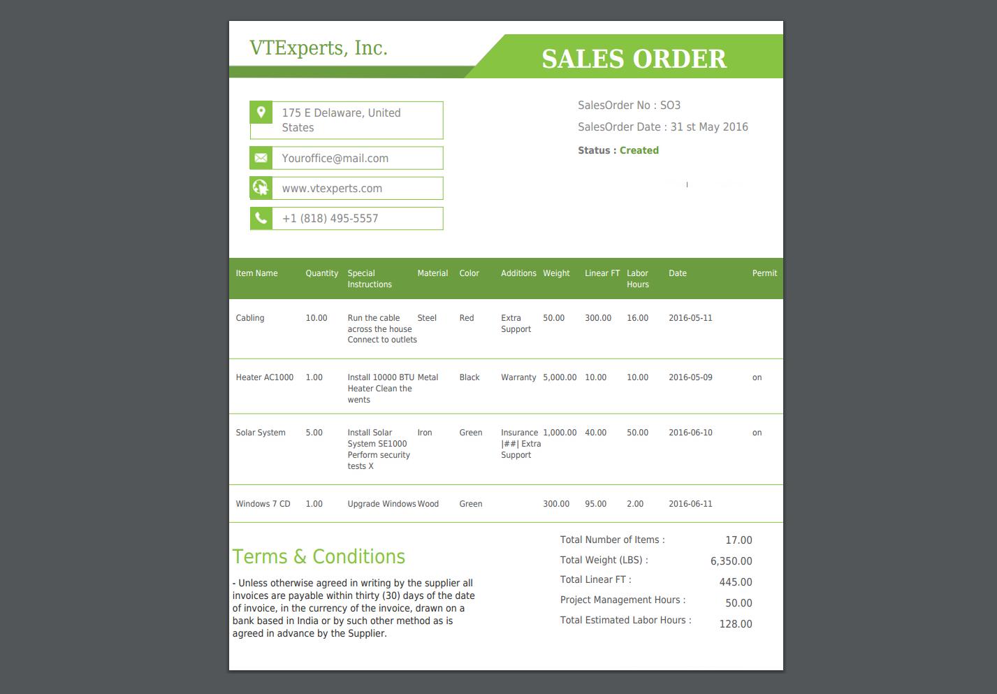VTiger - Item Details Customizer - Advanced - Sales Order PDF