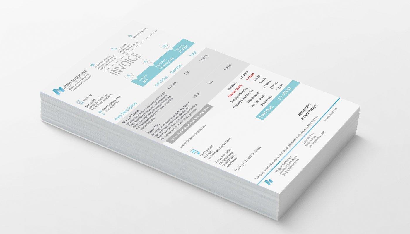 VTiger Professional PDF Template - Cyan