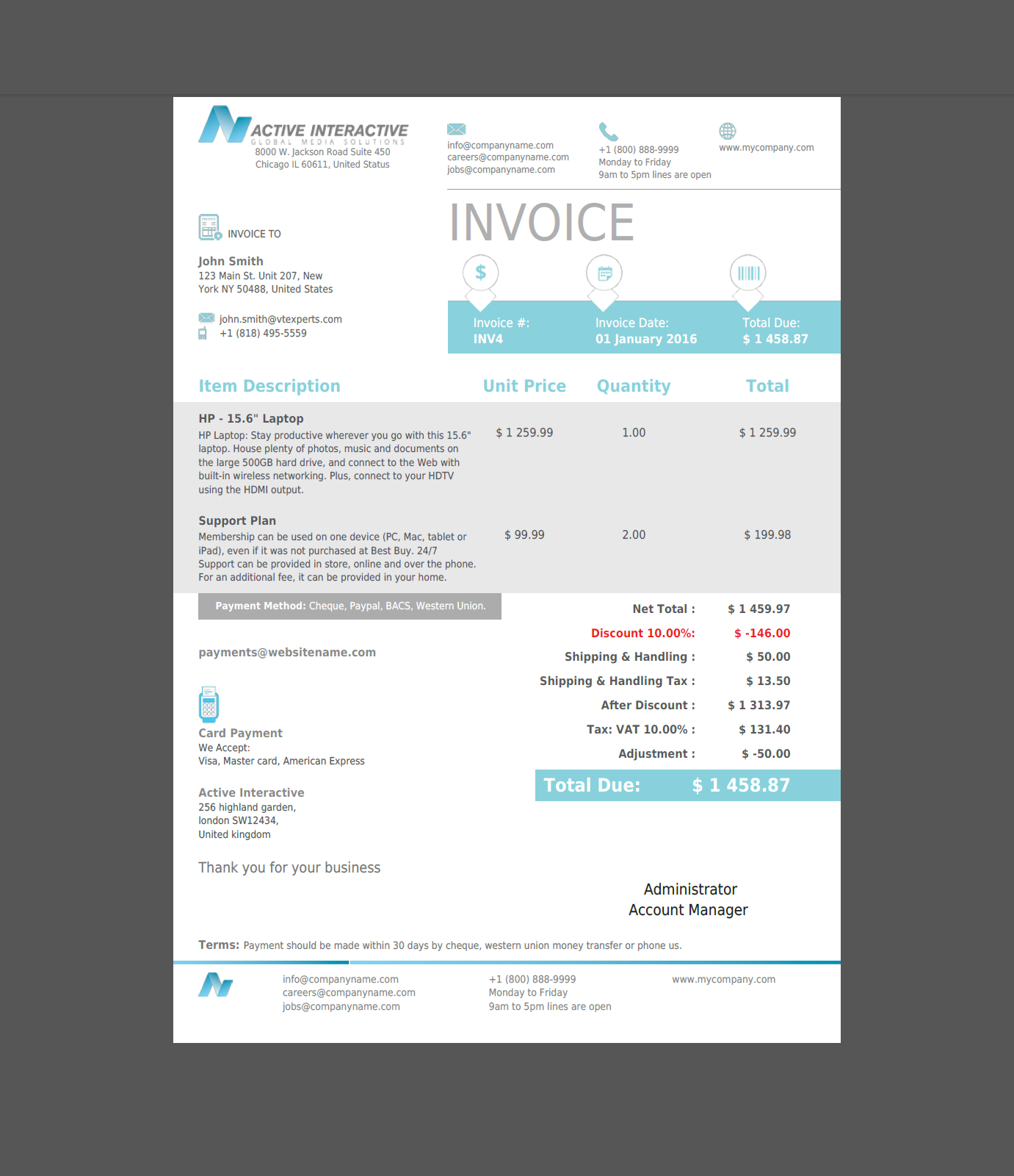 vtiger experts | vtiger pdf template (quote/invoice/so/po) - (cyan), Simple invoice