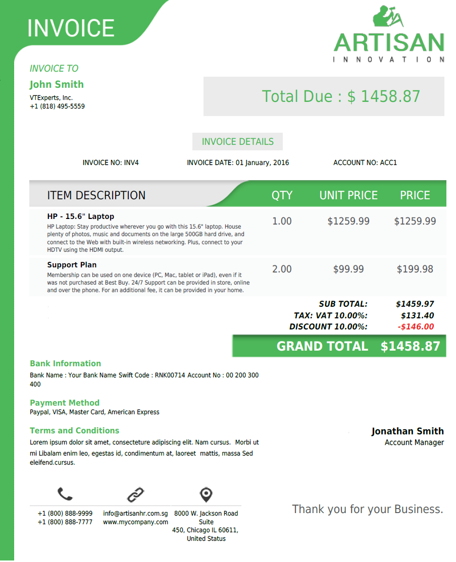 VTiger Experts VTiger PDF Template QuoteInvoiceSOPO Green - Pdf invoice maker