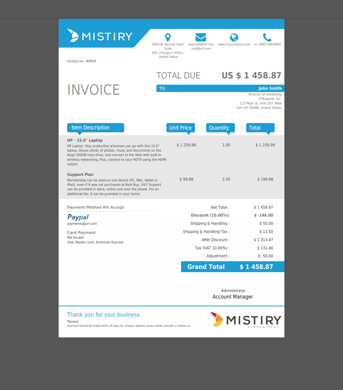 VTiger Experts | VTiger PDF Template (Quote/Invoice/SO/PO)   (Sky