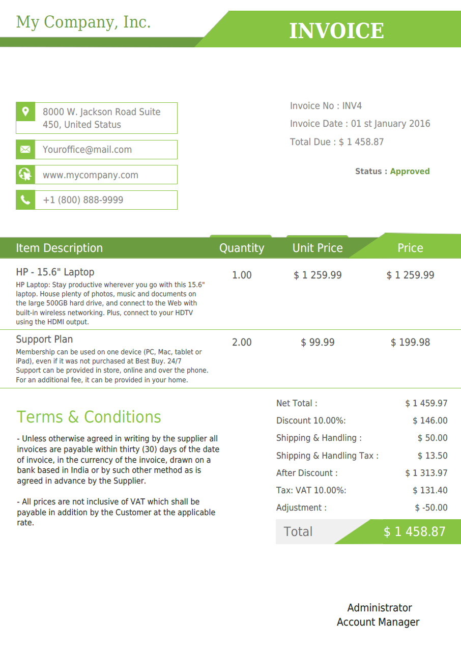 vtiger experts vtiger pdf template quote invoice so po vtiger professional template light green
