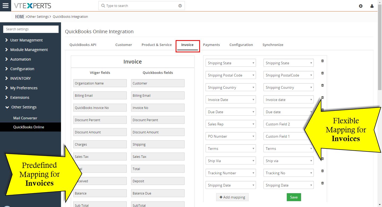 VTiger Experts VTiger Quickbooks Online Integration - Quickbooks online invoicing portal features