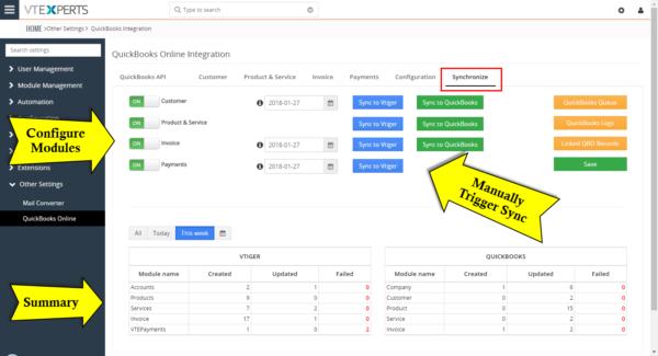 QuickBooks Online Integration for VTiger 7 – synchronize