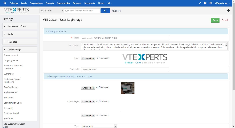 VTIger Custom Login Page - Modern Settings 2