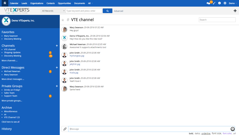 VTiger Collaboration Board (Chat) - View
