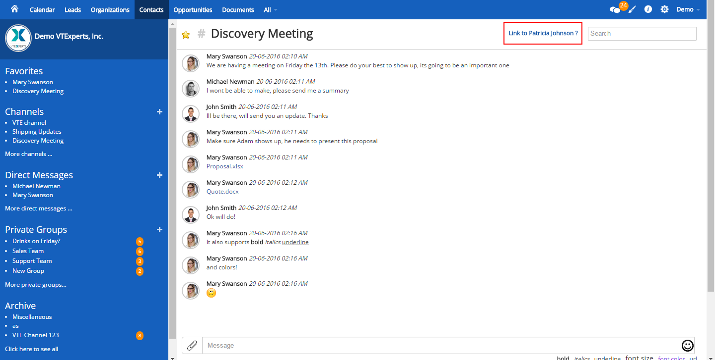 VTiger Collaboration Board - Link Record