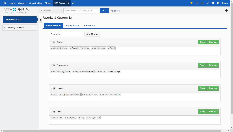 VTiger Favorite, Recent & Custom Lists - Configuration