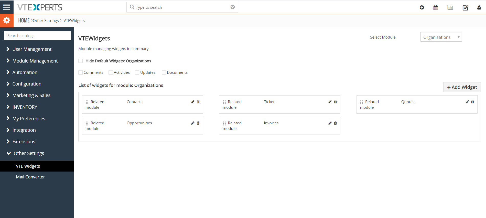 vTiger Extension, Modues, Plugins & Addons