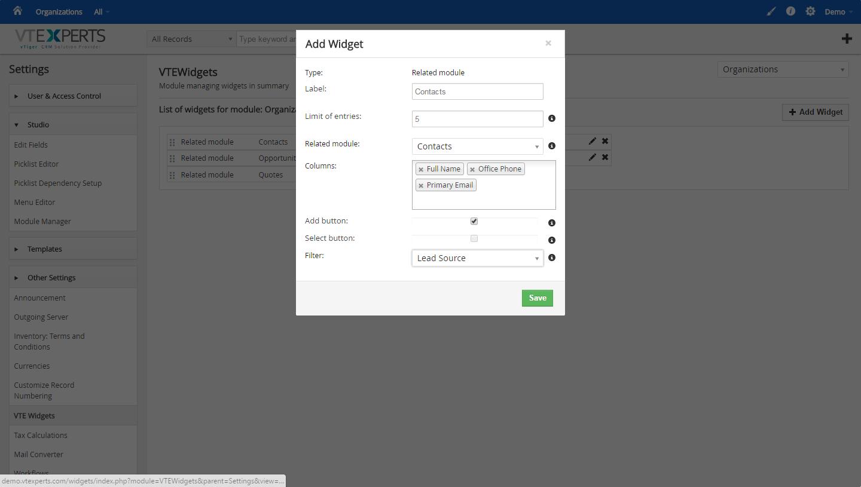 VTiger Widgets Extension - Creating Widget