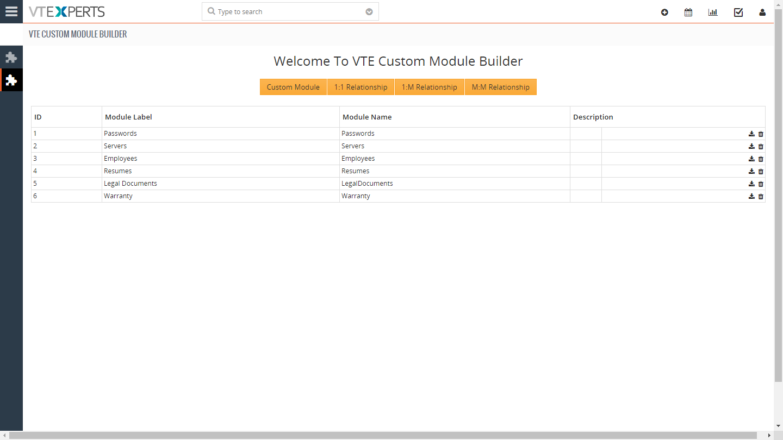 VTiger-7-Custom-Module-Builder-module-list f