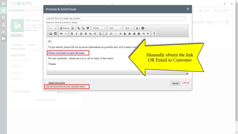VTiger 7 Document designer - form details obtain link