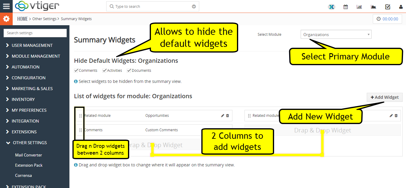 vtiger summary widgets configuration