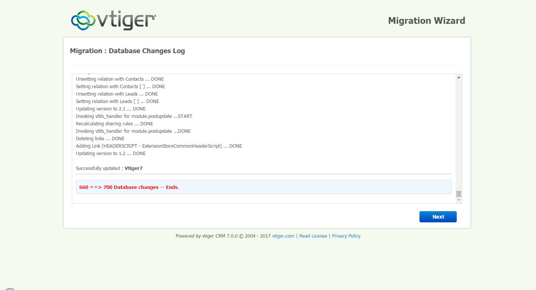 VTiger 7 Upgrade Step 2