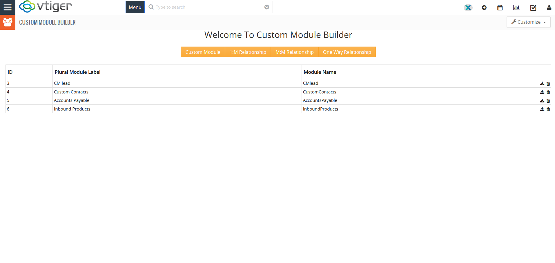 Custom Module builder configuration