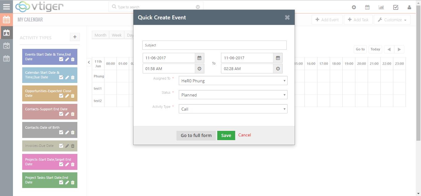 vtiger horizontal calendar create event meeting call assignment task