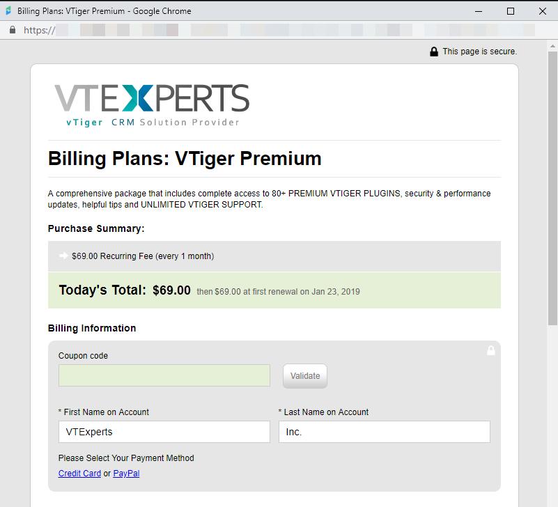 vtiger premium extension pack signup form
