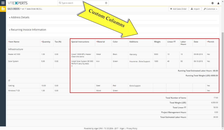 VTiger Item Details Customizer - Custom Columns