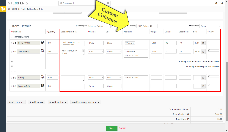 VTiger Item Details Customizer - Custom Columns2