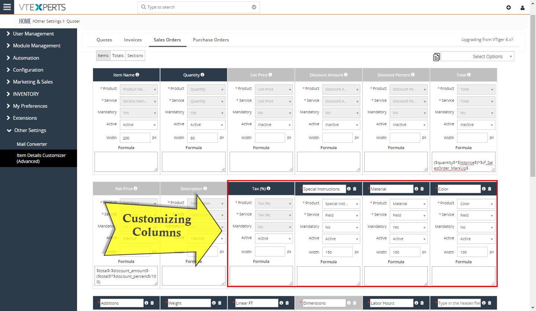 VTiger Item Details Customizer - Custom Columns3