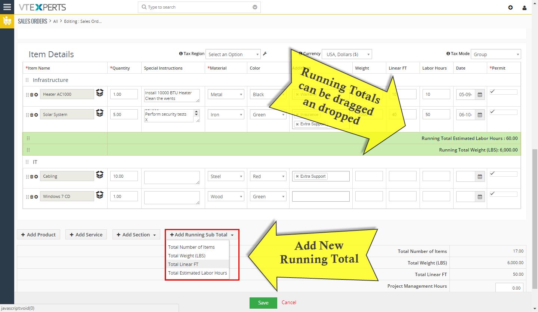 VTiger Item Details Customizer - running totals
