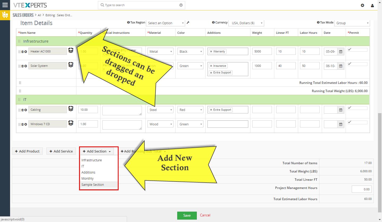 VTiger Item Details Customizer - sections